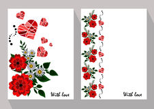 Greeting cards with abstract chamomiles and red flowers in ethni Stock Photo