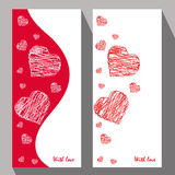 Greeting cards with abstract hearts in ethnic style for declarat Royalty Free Stock Photo