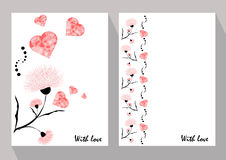 Greeting cards with abstract pink flowers in ethnic style for de Stock Photos