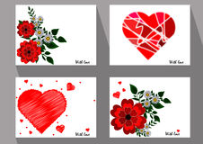Greeting cards with abstract red flowers and chamomiles in ethni Stock Image