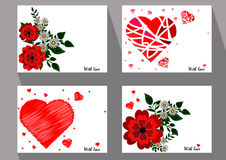 Greeting cards with abstract red flowers and chamomiles in ethni Royalty Free Stock Photos