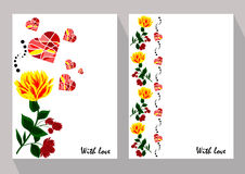 Greeting cards with abstract yellow and red flowers in ethnic st Royalty Free Stock Photography