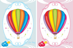 Greeting cards with air balloons. For little boy and girl. Illustration Royalty Free Stock Photography