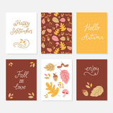 Greeting cards with autumn elements. Vector set of greeting cards with autumn elements and lettering. Happy September, hello autumn, fall in love, enjoy Royalty Free Stock Photos