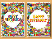 Greeting cards birthday party with sweets doodles background Stock Images