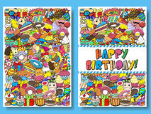 Greeting cards birthday party templates with sweets doodles background. Vector illustration. Stock Images