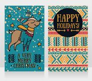 greeting cards for christmas with cute christmas deer in sweater stock illustration