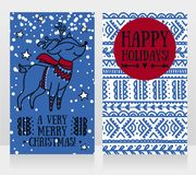 Greeting cards for christmas with cute christmas deer in sweater vector illustration