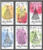 Greeting cards.Christmas tree,decorations.Watercolor splashes. Merry Christmas  celebration card, New year holiday decoration.Watercolor splashes. Christmas tree Stock Images