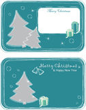 Greeting cards with Christmas trees. Two postcards with Christmas trees and gifts Royalty Free Stock Images