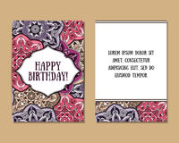 Greeting cards with colorful mandala pattern. Greeting cards set with colorful mandala pattern. East Indian style. Beautiful background for card, party or event Stock Image