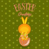 Greeting cards. Cute Easter bunny,  eggs, flowers Stock Photography