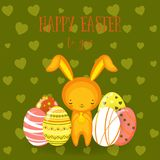 Greeting cards. Cute Easter bunny,  eggs, flowers Royalty Free Stock Images