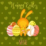 Greeting cards. Cute Easter bunny,  eggs, flowers Royalty Free Stock Photo