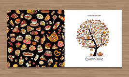 Greeting cards, design idea for sweets shop company Royalty Free Stock Photo