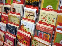 Thanksgiving Greeting Cards. Display rack of Thanksgiving greeting cards stock image