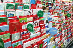 Greeting cards. On display in a store