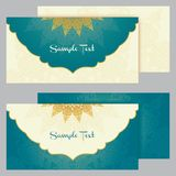 Greeting cards in east style on blue background Stock Photography