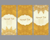 Greeting cards in east style on gold background royalty free illustration