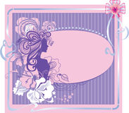 Greeting cards of with female silhouette Stock Images