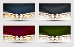 Greeting cards. Four Christmas greeting cards with bow Royalty Free Stock Images