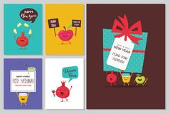 Greeting cards with funny cartoon characters for Rosh Hashanah, Jewish holiday. honey jar, apples and pomegranates vector illustration