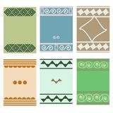 Greeting cards with geometric motifs. Vector set of flyers stock illustration