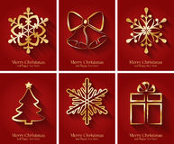 Greeting cards with golden Christmas symbols. Set of red greeting cards with golden Christmas symbols. Vector illustration Stock Images