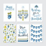 Greeting cards for Hanukkah. Vector set of greeting cards for Hanukkah with holiday lettering and design elements. Menorah, candles, donuts, garland, bow Royalty Free Stock Image