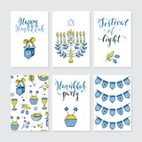 Greeting cards for Hanukkah. Vector set of greeting cards for Hanukkah with holiday lettering and design elements. Menorah, candles, donuts, garland, bow Stock Image