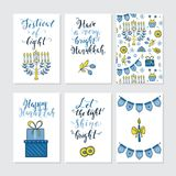 Greeting cards for Hanukkah. Vector set of greeting cards for Hanukkah with holiday lettering and design elements. Menorah, candles, donuts, garland, gifts Royalty Free Stock Photo