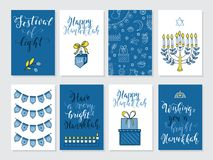 Greeting cards for Hanukkah. Vector set of greeting cards for Hanukkah with holiday lettering and design elements Menorah, wreath, donuts, bow, gifts, candles Royalty Free Stock Photos