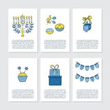 Greeting cards for Hanukkah. Vector set of greeting cards for Hanukkah with text and design elements. Menorah, candles, donuts, garland, cupcake, gifts, dreidel Stock Photography