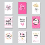 Greeting Cards For Happy Mother Day Holiday Decorated With Beautiful Hand Drawn Calligraphy Stock Photos