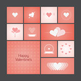 Cards with heart for Valentines Day Royalty Free Stock Photo