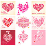 Greeting cards with hearts Royalty Free Stock Photography