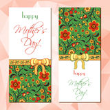 Greeting cards with Hohloma floral ornament Stock Photography