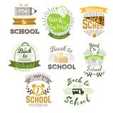 Greeting cards labels set with ribbon books bag clock bus pen and pencil vector illustration. First day of school. Emblems. Calligraphy lettering back to school stock illustration