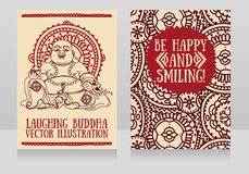 Greeting cards with Laughing Buddha. Traditional asian Feng Shui talisman Hotei or Budai for happiness, vector illustration Royalty Free Stock Images