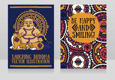 Greeting cards with Laughing Buddha royalty free illustration