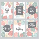 6 greeting cards with leaves Stock Images