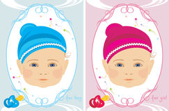 Greeting cards for little boy and girl Stock Photos