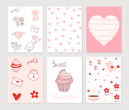 Greeting cards or notes in pink and red Royalty Free Stock Photography
