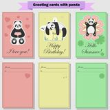 Greeting cards with panda for you. Sweet panda in different styles, painted in a flat style. The first postcard is ideal for lovers Royalty Free Stock Image