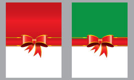 Greeting cards with red bows and ribbons space. Vector illustration of greeting card with ribbon and green and red background and white space room for your Stock Images