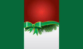 Greeting cards with red bows and ribbons space. Vector illustration of greeting card with ribbon and green and red background and white space room for your Royalty Free Stock Photography