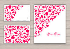Greeting Cards with red tulips. Royalty Free Stock Photography