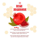 Greeting cards Rosh Hashanah Jewish New year. The design with a pen to draw a half of a ripe pomegranate with a jar of royalty free illustration