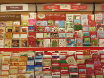 Greeting cards for sale. Different occasions greeting card display inside a store Royalty Free Stock Photography
