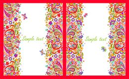 Greeting cards with seamless decorative borders with colorful abstract flowers print on white background. Variation stock illustration